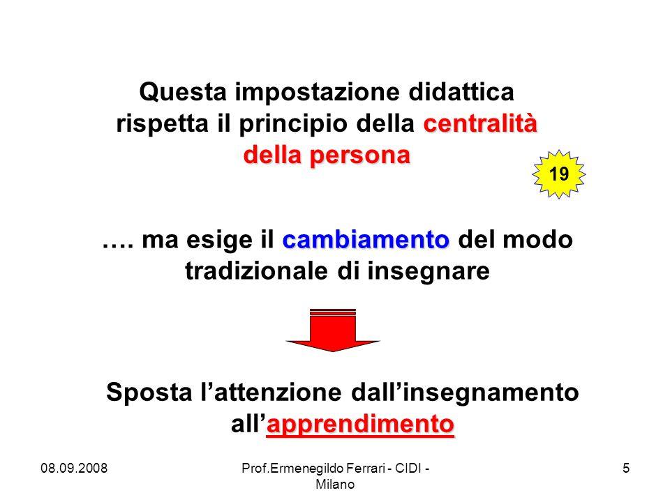 08.09.2008Prof.Ermenegildo Ferrari - CIDI - Milano 5 centralità della persona Questa impostazione didattica rispetta il principio della centralità della persona cambiamento ….