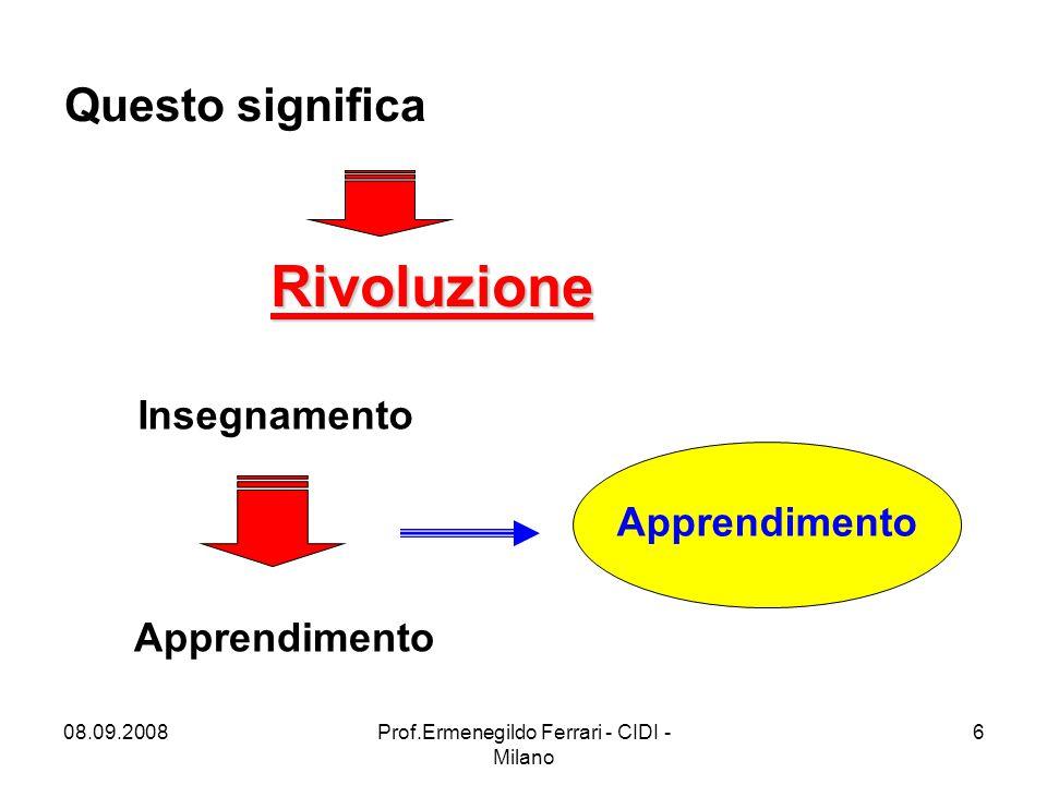 08.09.2008Prof.Ermenegildo Ferrari - CIDI - Milano 6 Questo significa Rivoluzione Insegnamento Apprendimento