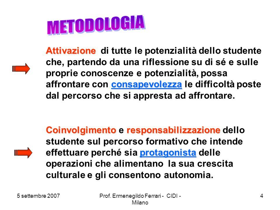 5 settembre 2007Prof. Ermenegildo Ferrari - CIDI - Milano 4 Attivazione consapevolezza Attivazione di tutte le potenzialità dello studente che, parten