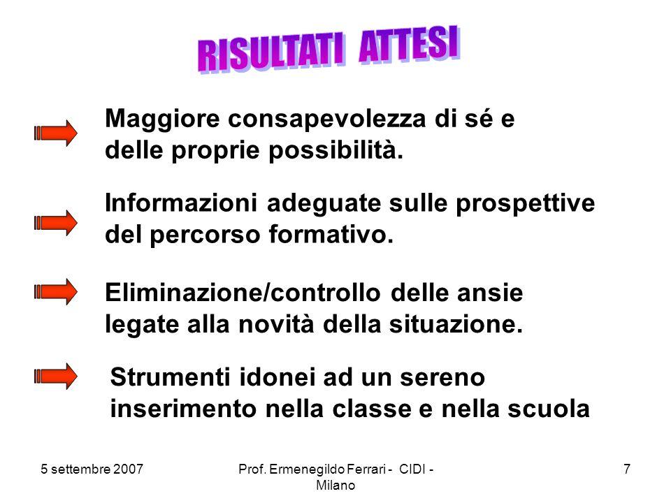 5 settembre 2007Prof. Ermenegildo Ferrari - CIDI - Milano 7 Maggiore consapevolezza di sé e delle proprie possibilità. Informazioni adeguate sulle pro