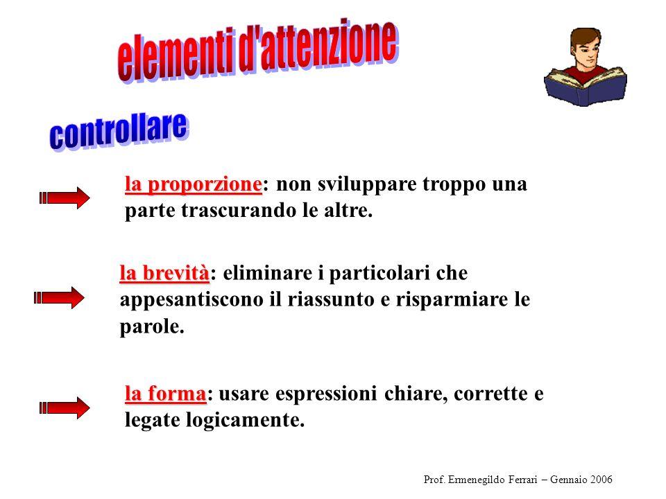 Prof. Ermenegildo Ferrari – Gennaio 2006 la proporzione la proporzione: non sviluppare troppo una parte trascurando le altre. la forma la forma: usare
