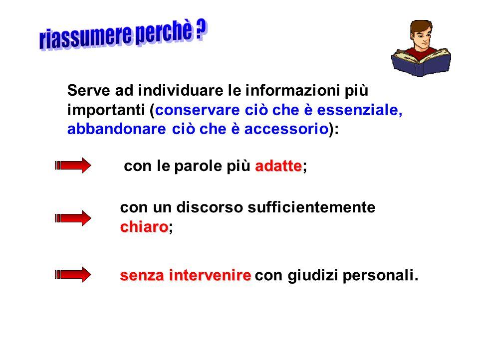 Serve ad individuare le informazioni più importanti (conservare ciò che è essenziale, abbandonare ciò che è accessorio): adatte con le parole più adat