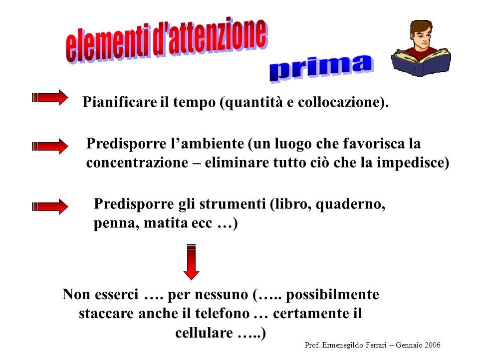 Pianificare il tempo (quantità e collocazione). Predisporre gli strumenti (libro, quaderno, penna, matita ecc …) Prof. Ermenegildo Ferrari – Gennaio 2