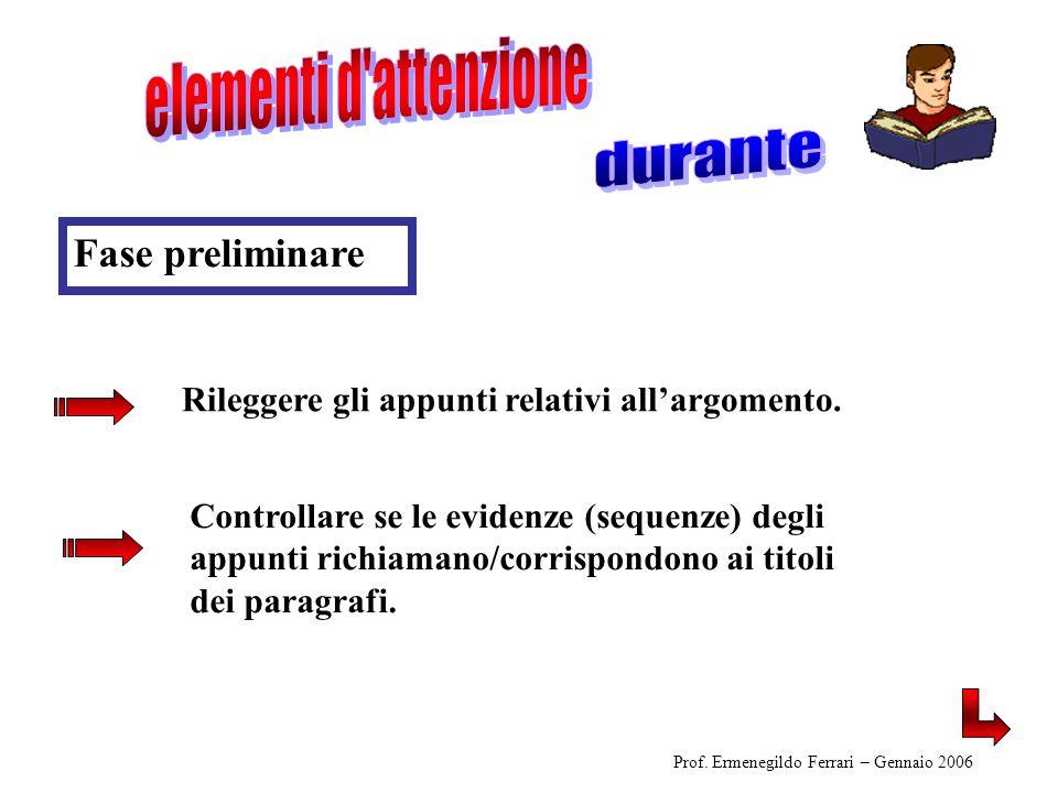 Controllare se le evidenze (sequenze) degli appunti richiamano/corrispondono ai titoli dei paragrafi. Prof. Ermenegildo Ferrari – Gennaio 2006 Rilegge