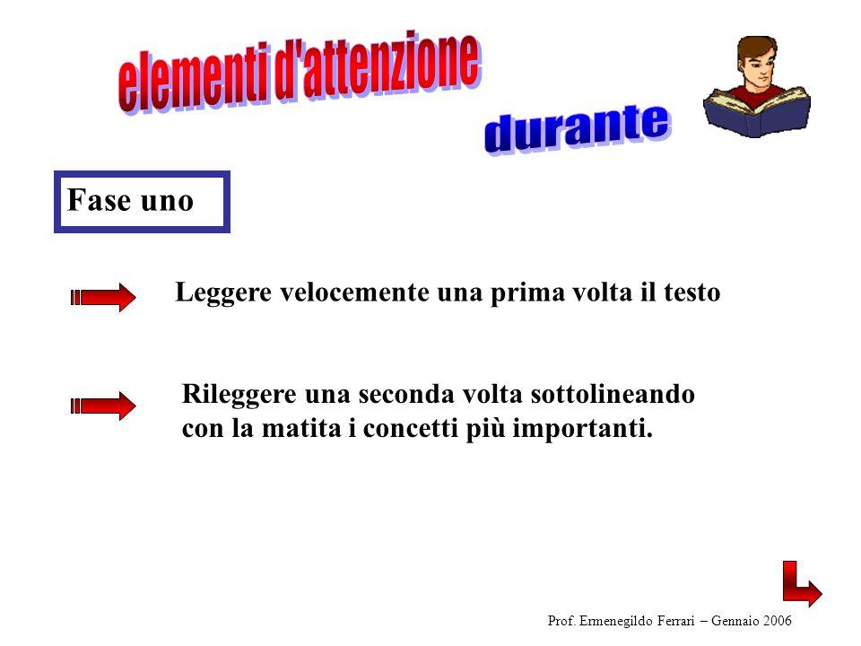 Leggere velocemente una prima volta il testo Prof. Ermenegildo Ferrari – Gennaio 2006 Rileggere una seconda volta sottolineando con la matita i concet