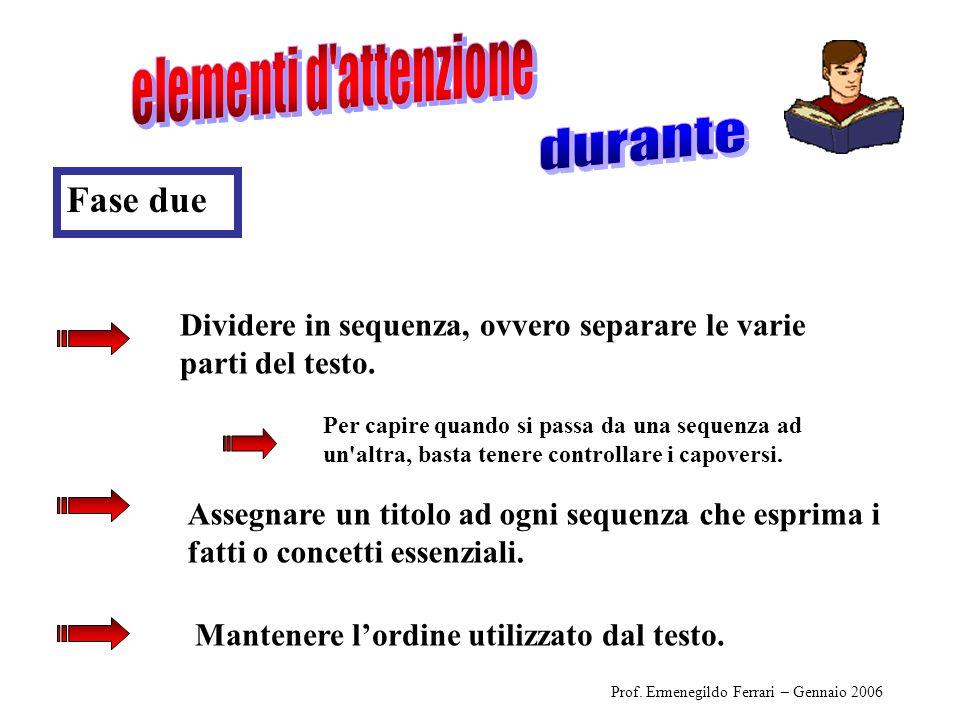 Prof. Ermenegildo Ferrari – Gennaio 2006 Dividere in sequenza, ovvero separare le varie parti del testo. Mantenere l'ordine utilizzato dal testo. Fase