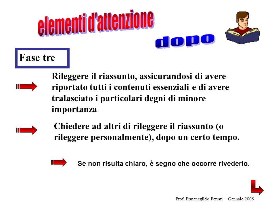 Prof. Ermenegildo Ferrari – Gennaio 2006 Rileggere il riassunto, assicurandosi di avere riportato tutti i contenuti essenziali e di avere tralasciato