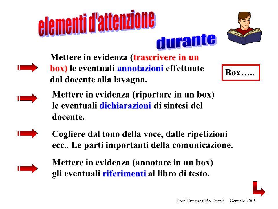 riferimenti Mettere in evidenza (annotare in un box) gli eventuali riferimenti al libro di testo.