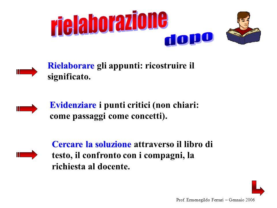 Eventuale richiesta di spiegazione al docente Evidenziare i punti critici (non chiari: come passaggi e come concetti).
