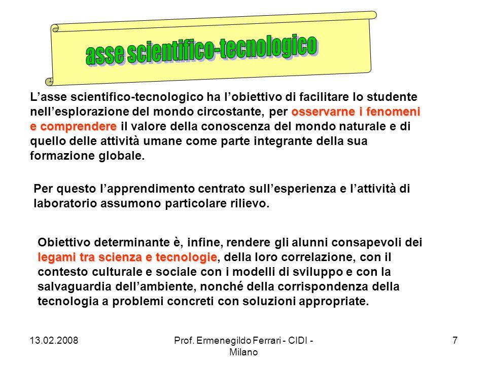 13.02.2008Prof. Ermenegildo Ferrari - CIDI - Milano 7 osservarne i fenomeni e comprendere L'asse scientifico-tecnologico ha l'obiettivo di facilitare