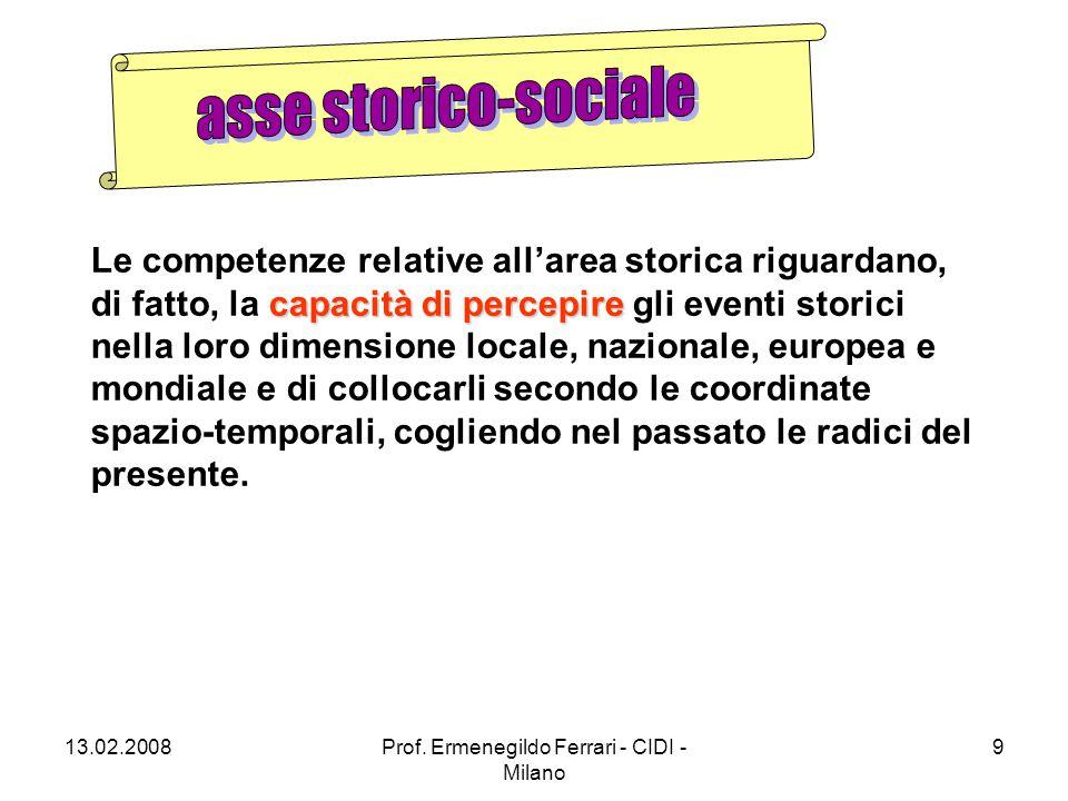 13.02.2008Prof. Ermenegildo Ferrari - CIDI - Milano 9 capacità di percepire Le competenze relative all'area storica riguardano, di fatto, la capacità