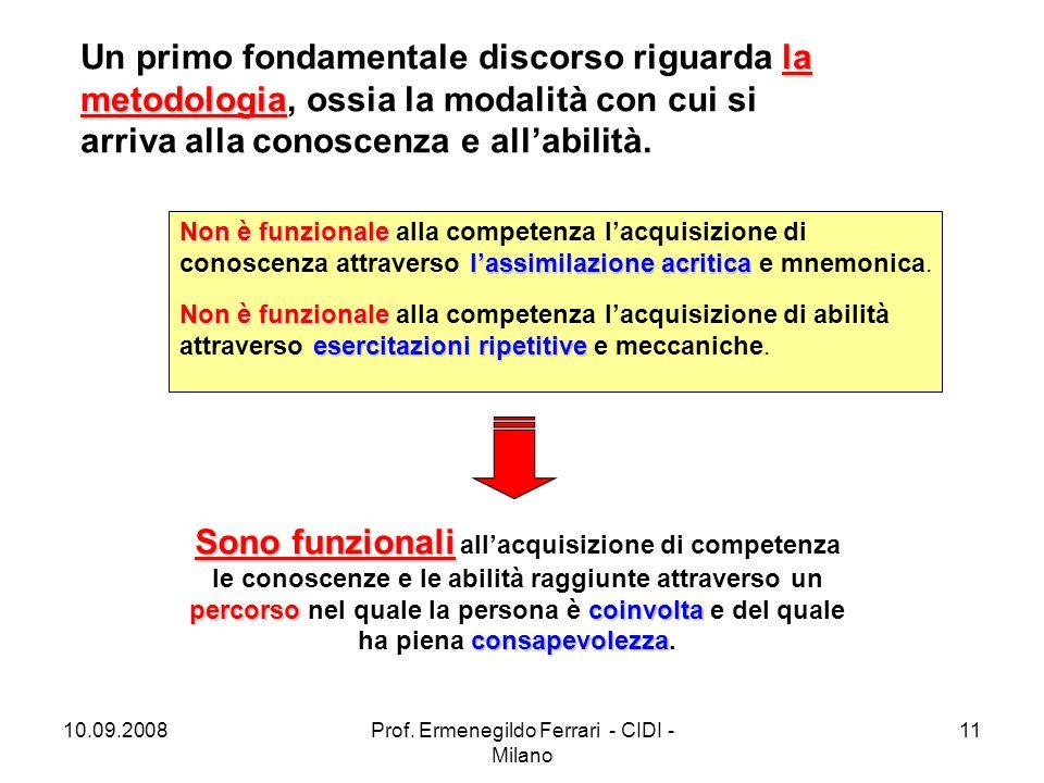 10.09.2008Prof. Ermenegildo Ferrari - CIDI - Milano 11 la metodologia Un primo fondamentale discorso riguarda la metodologia, ossia la modalità con cu