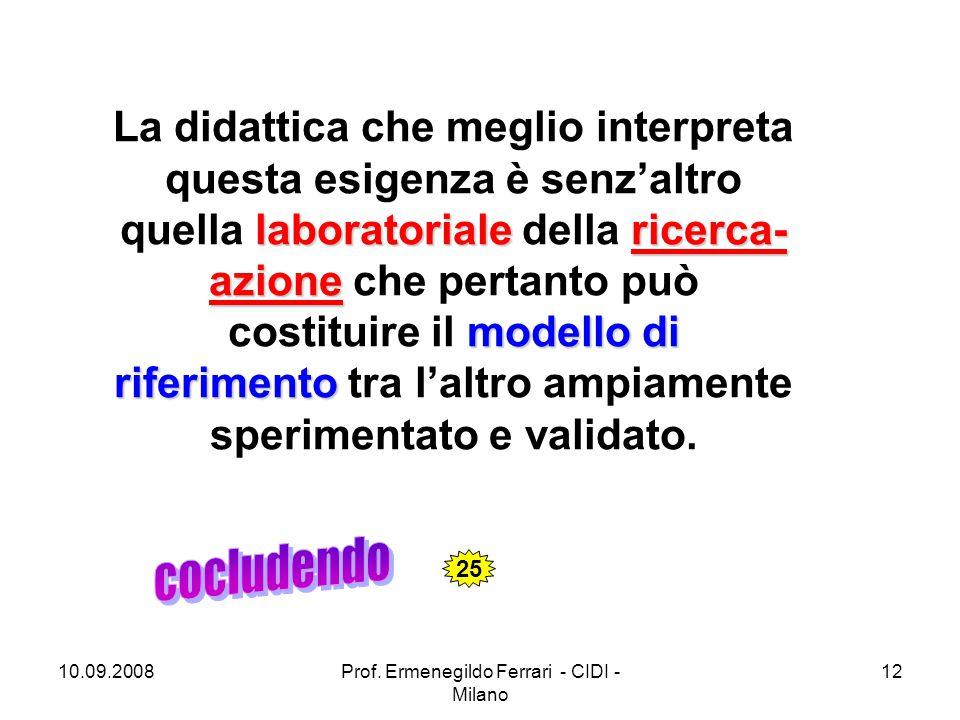 10.09.2008Prof. Ermenegildo Ferrari - CIDI - Milano 12 laboratorialericerca- azione modello di riferimento La didattica che meglio interpreta questa e