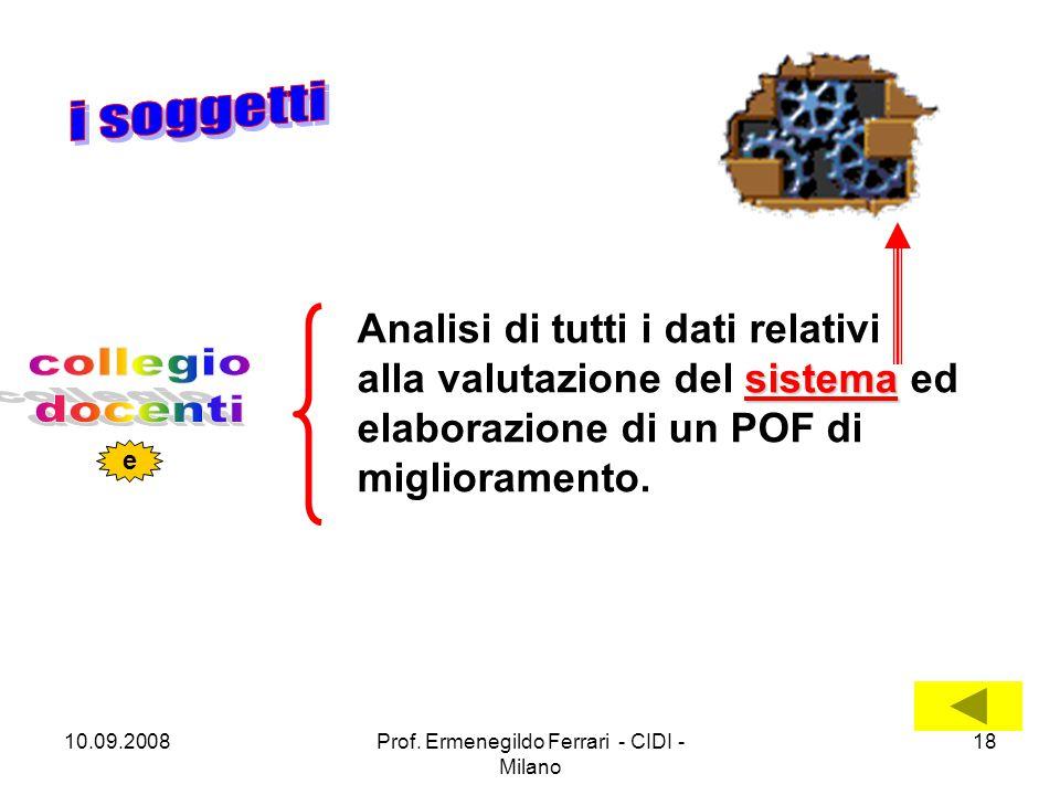 10.09.2008Prof. Ermenegildo Ferrari - CIDI - Milano 18 sistema Analisi di tutti i dati relativi alla valutazione del sistema ed elaborazione di un POF