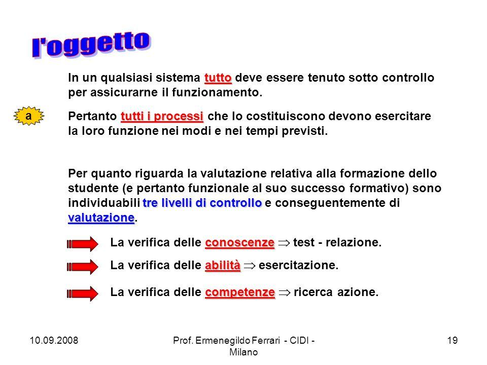 10.09.2008Prof. Ermenegildo Ferrari - CIDI - Milano 19 tutto In un qualsiasi sistema tutto deve essere tenuto sotto controllo per assicurarne il funzi