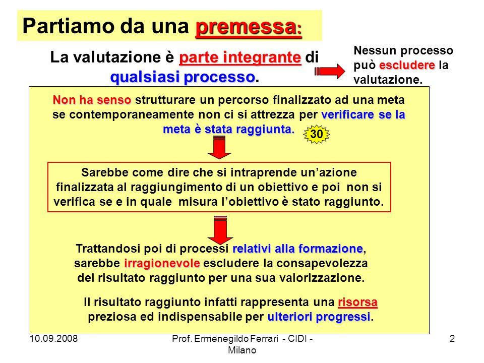 10.09.2008Prof. Ermenegildo Ferrari - CIDI - Milano 2 premessa : Partiamo da una premessa : parte integrante qualsiasi processo La valutazione è parte