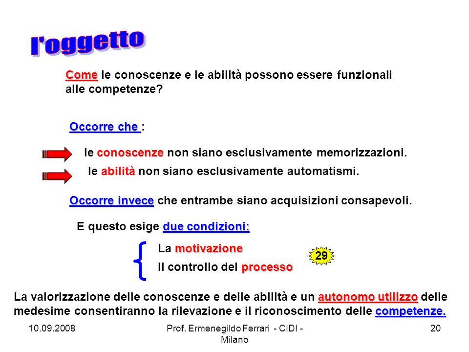 10.09.2008Prof. Ermenegildo Ferrari - CIDI - Milano 20 Come Come le conoscenze e le abilità possono essere funzionali alle competenze? Occorre che Occ