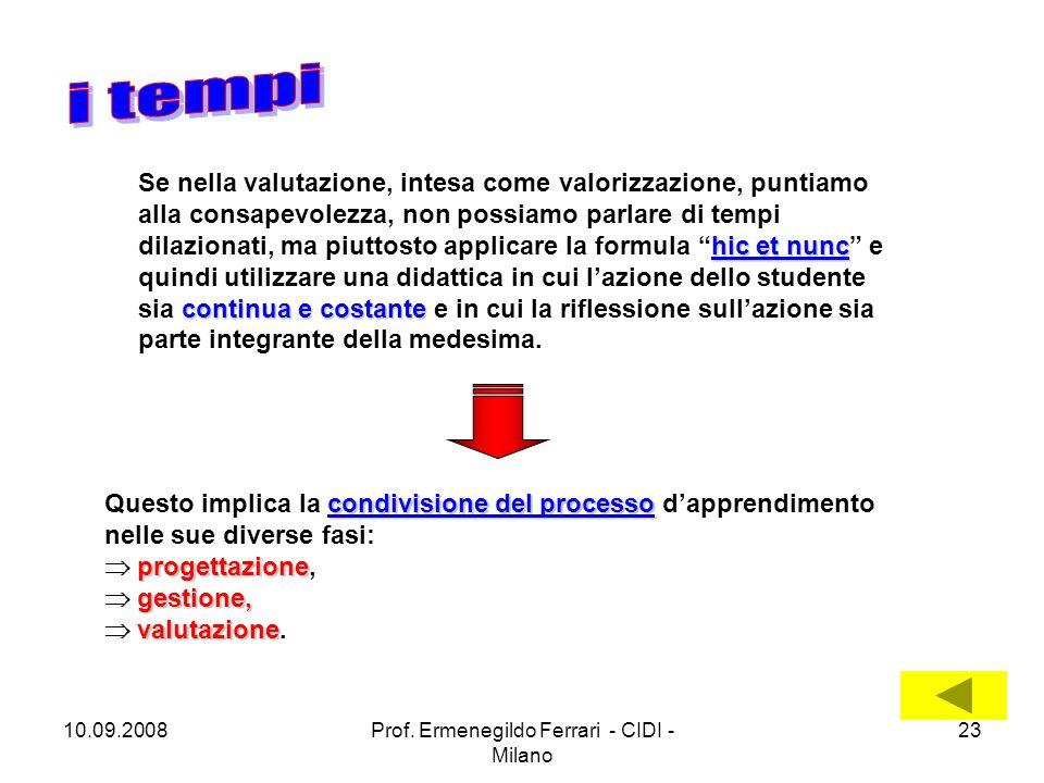 10.09.2008Prof. Ermenegildo Ferrari - CIDI - Milano 23 hic et nunc continua e costante Se nella valutazione, intesa come valorizzazione, puntiamo alla