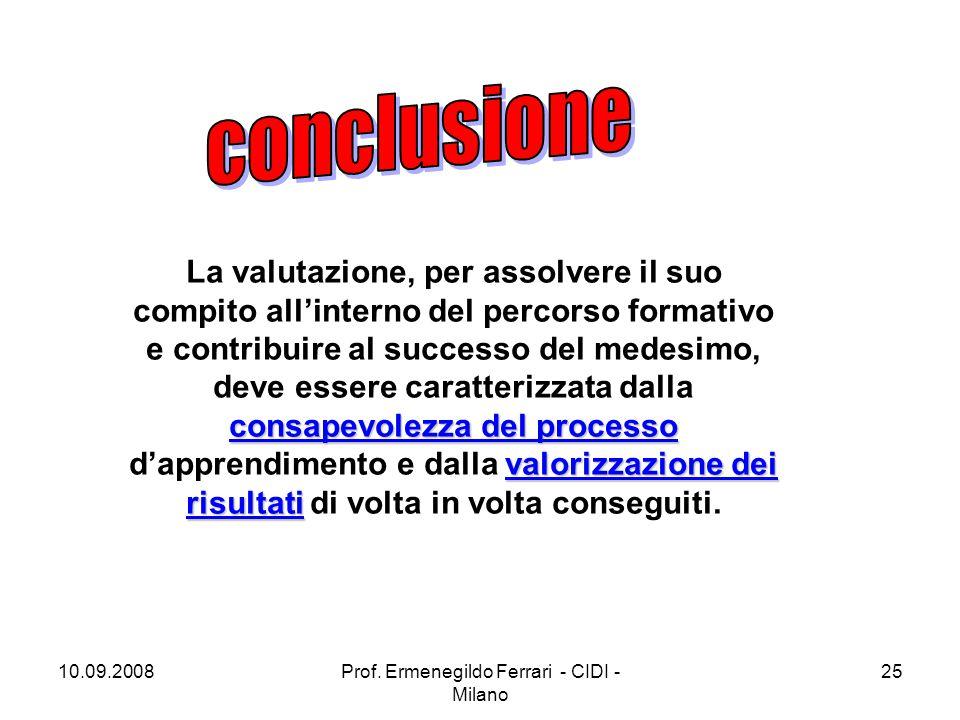 10.09.2008Prof. Ermenegildo Ferrari - CIDI - Milano 25 consapevolezza del processo valorizzazione dei risultati La valutazione, per assolvere il suo c