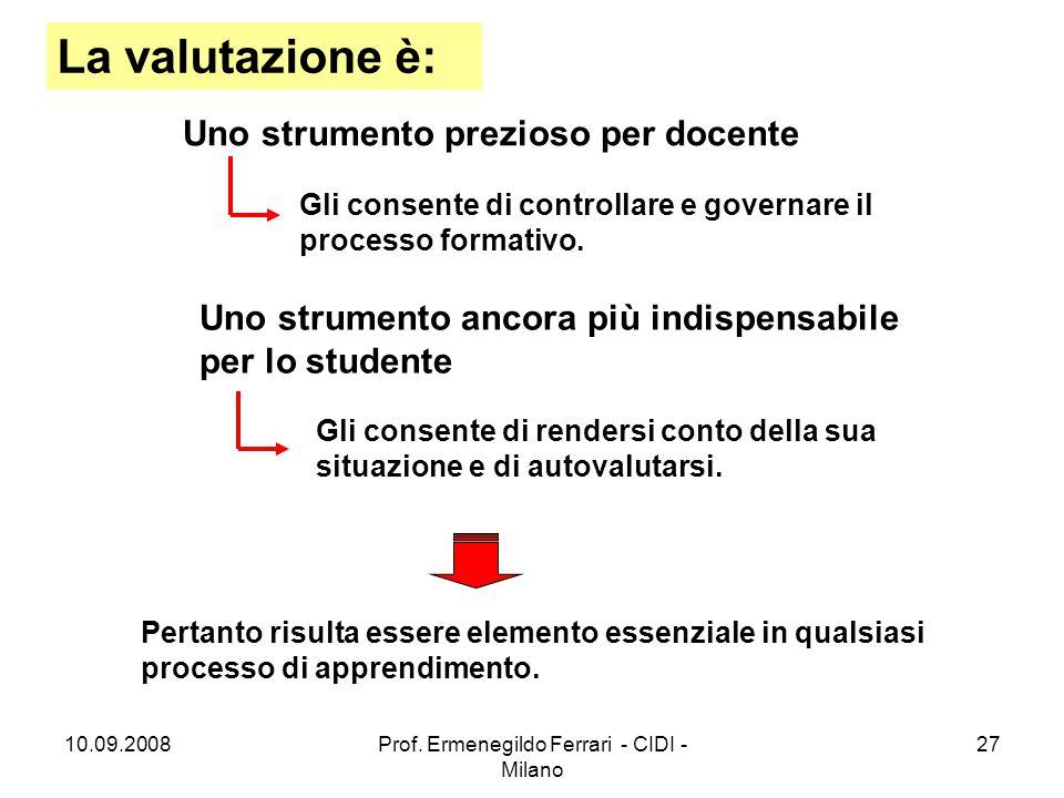10.09.2008Prof. Ermenegildo Ferrari - CIDI - Milano 27 La valutazione è: Uno strumento prezioso per docente Uno strumento ancora più indispensabile pe