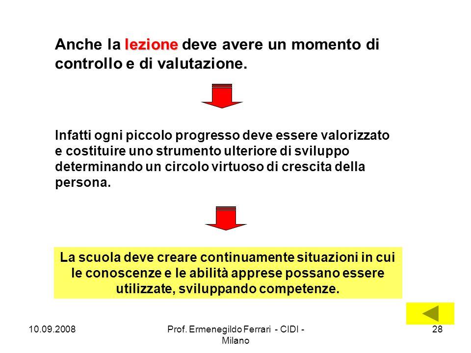 10.09.2008Prof. Ermenegildo Ferrari - CIDI - Milano 28 lezione Anche la lezione deve avere un momento di controllo e di valutazione. Infatti ogni picc