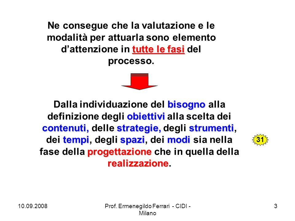 10.09.2008Prof. Ermenegildo Ferrari - CIDI - Milano 3 tutte le fasi Ne consegue che la valutazione e le modalità per attuarla sono elemento d'attenzio