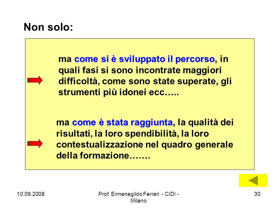 10.09.2008Prof. Ermenegildo Ferrari - CIDI - Milano 30 Non solo: come è stata raggiunta ma come è stata raggiunta, la qualità dei risultati, la loro s