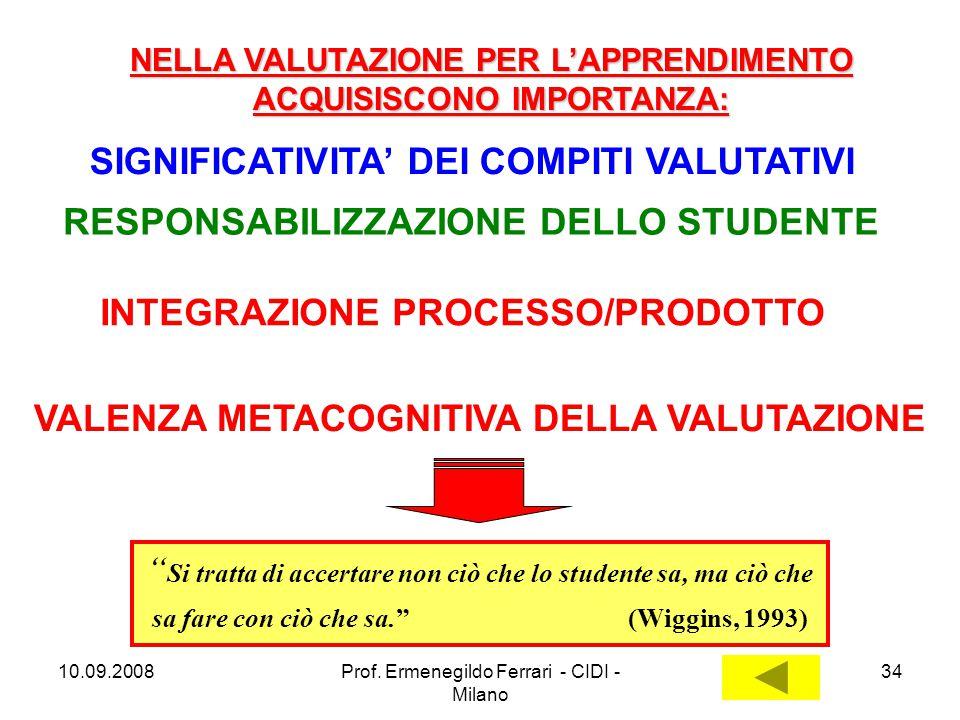 10.09.2008Prof. Ermenegildo Ferrari - CIDI - Milano 34 SIGNIFICATIVITA' DEI COMPITI VALUTATIVI RESPONSABILIZZAZIONE DELLO STUDENTE INTEGRAZIONE PROCES