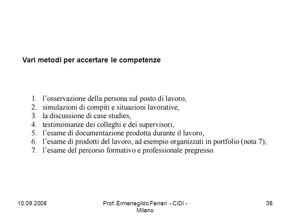 10.09.2008Prof. Ermenegildo Ferrari - CIDI - Milano 38 Vari metodi per accertare le competenze