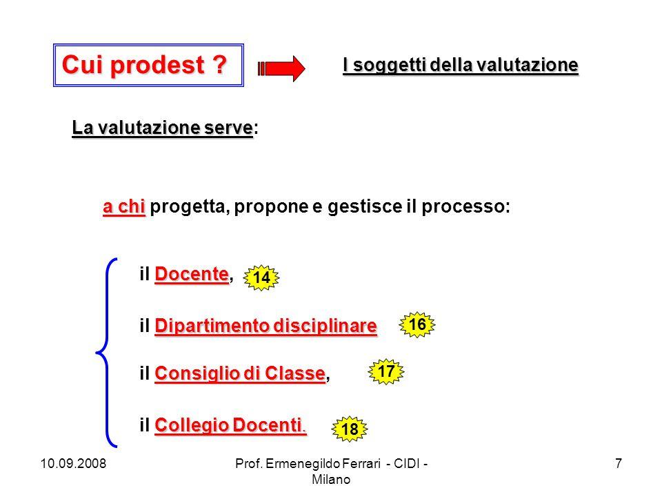 10.09.2008Prof. Ermenegildo Ferrari - CIDI - Milano 7 Cui prodest? Cui prodest ? La valutazione serve La valutazione serve: a chi a chi progetta, prop
