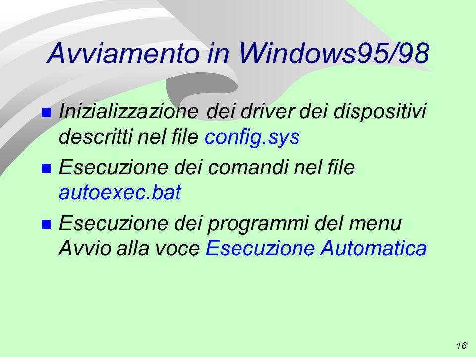 16 Avviamento in Windows95/98 n Inizializzazione dei driver dei dispositivi descritti nel file config.sys n Esecuzione dei comandi nel file autoexec.bat n Esecuzione dei programmi del menu Avvio alla voce Esecuzione Automatica
