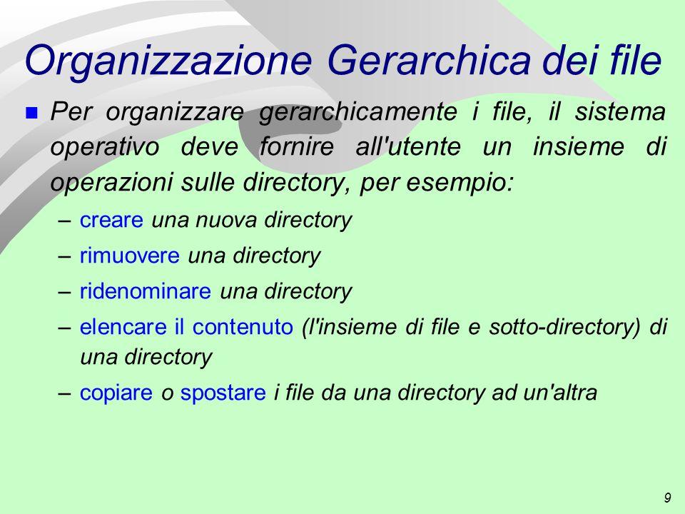 9 Organizzazione Gerarchica dei file Per organizzare gerarchicamente i file, il sistema operativo deve fornire all utente un insieme di operazioni sulle directory, per esempio: –creare una nuova directory –rimuovere una directory –ridenominare una directory –elencare il contenuto (l insieme di file e sotto-directory) di una directory –copiare o spostare i file da una directory ad un altra