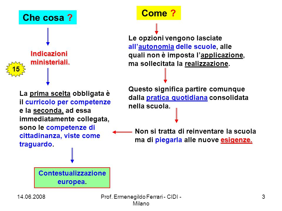 14.06.2008Prof. Ermenegildo Ferrari - CIDI - Milano 3 Che cosa .