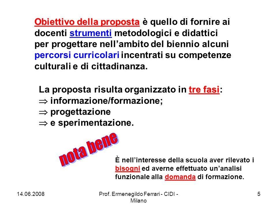 14.06.2008Prof. Ermenegildo Ferrari - CIDI - Milano 16 http://www.cidimi.it/