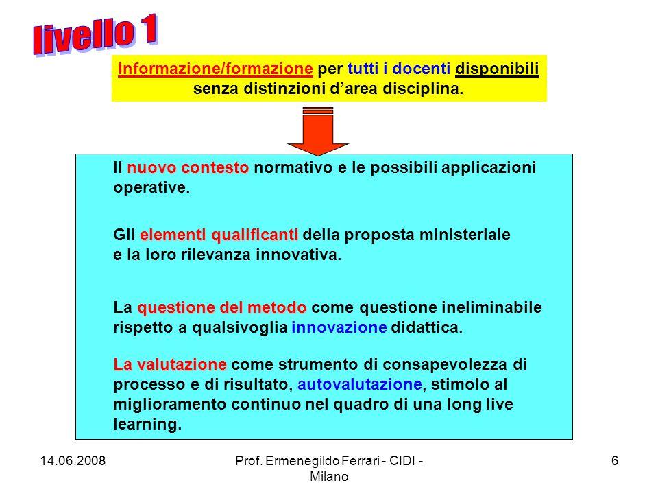 14.06.2008Prof. Ermenegildo Ferrari - CIDI - Milano 17 http://www.pubblica.istruzione.it/