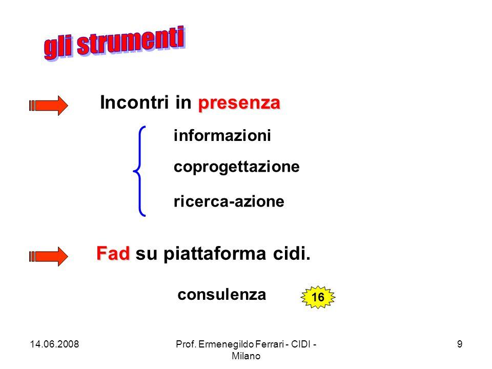 14.06.2008Prof. Ermenegildo Ferrari - CIDI - Milano 10