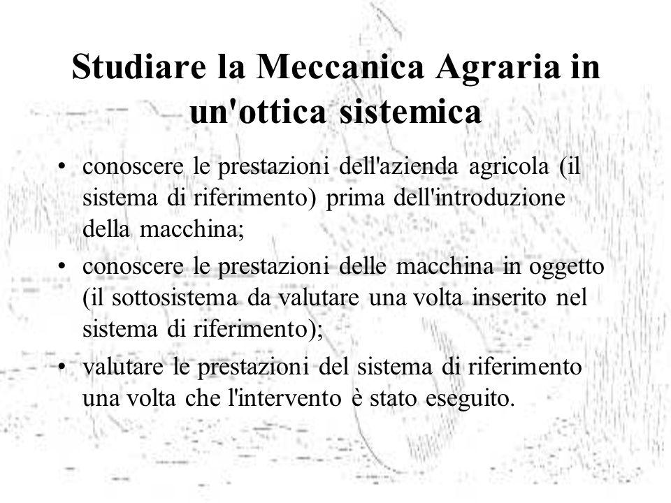 Studiare la Meccanica Agraria in un'ottica sistemica conoscere le prestazioni dell'azienda agricola (il sistema di riferimento) prima dell'introduzion