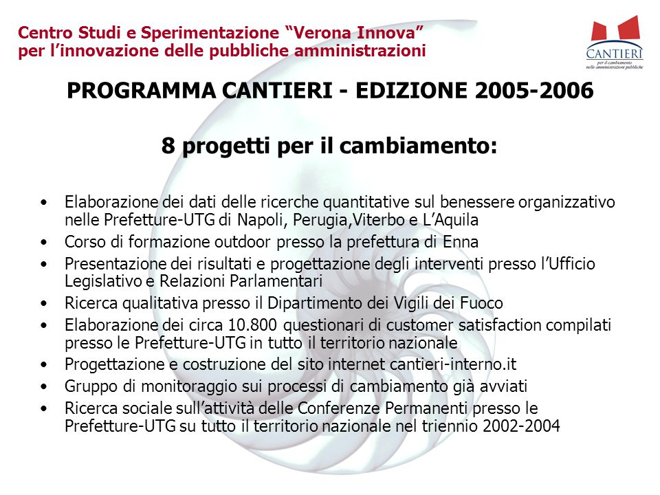 """Centro Studi e Sperimentazione """"Verona Innova"""" per l'innovazione delle pubbliche amministrazioni PROGRAMMA CANTIERI - EDIZIONE 2005-2006 8 progetti pe"""