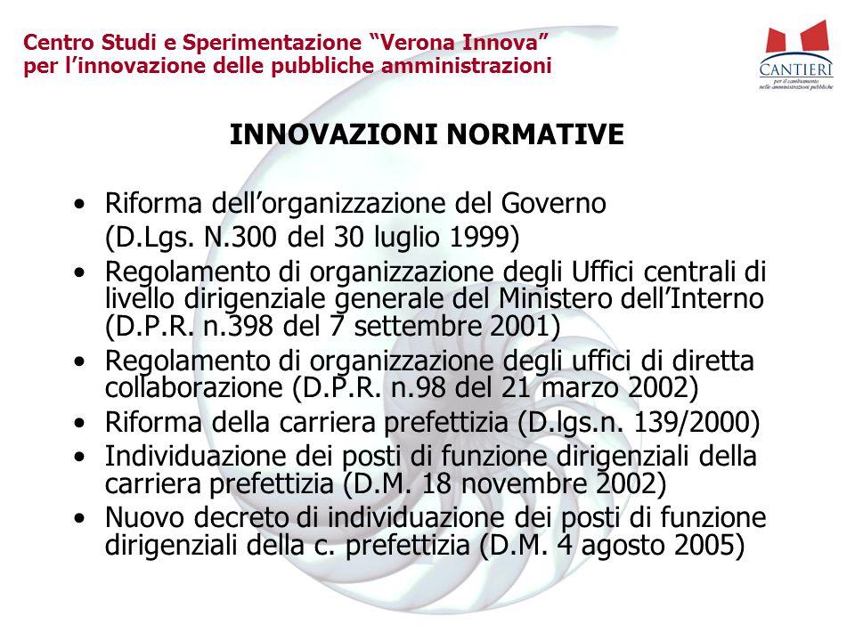"""Centro Studi e Sperimentazione """"Verona Innova"""" per l'innovazione delle pubbliche amministrazioni INNOVAZIONI NORMATIVE Riforma dell'organizzazione del"""