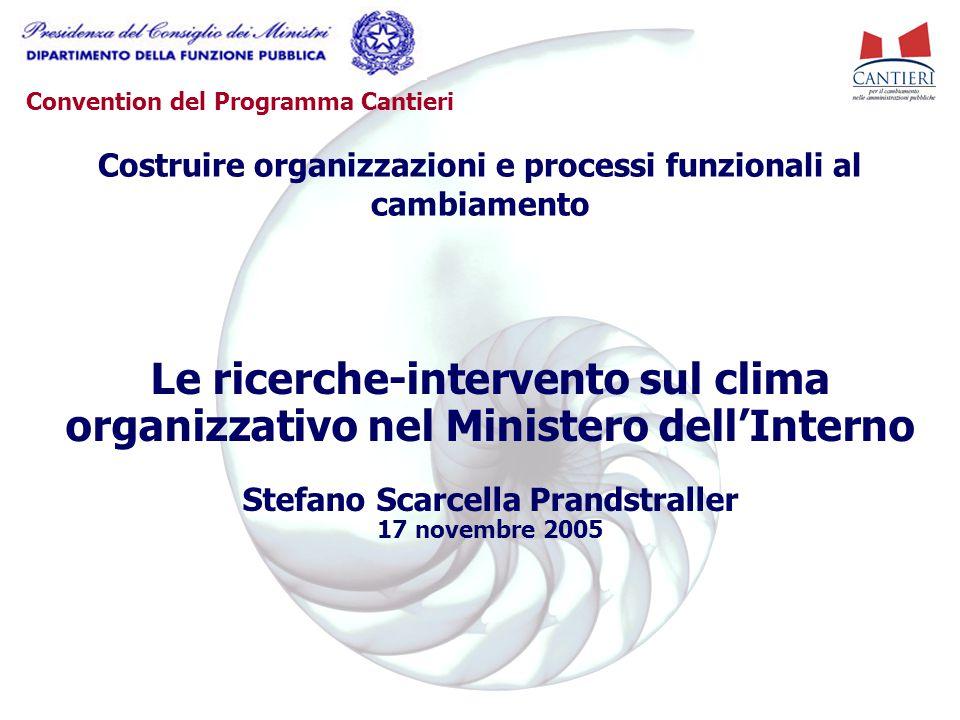 Convention del Programma Cantieri Le ricerche-intervento sul clima organizzativo nel Ministero dell'Interno Stefano Scarcella Prandstraller 17 novembr
