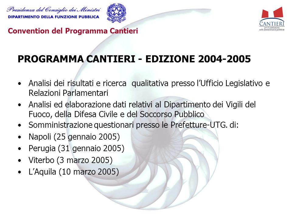 Convention del Programma Cantieri PROGRAMMA CANTIERI - EDIZIONE 2004-2005 Analisi dei risultati e ricerca qualitativa presso l'Ufficio Legislativo e R