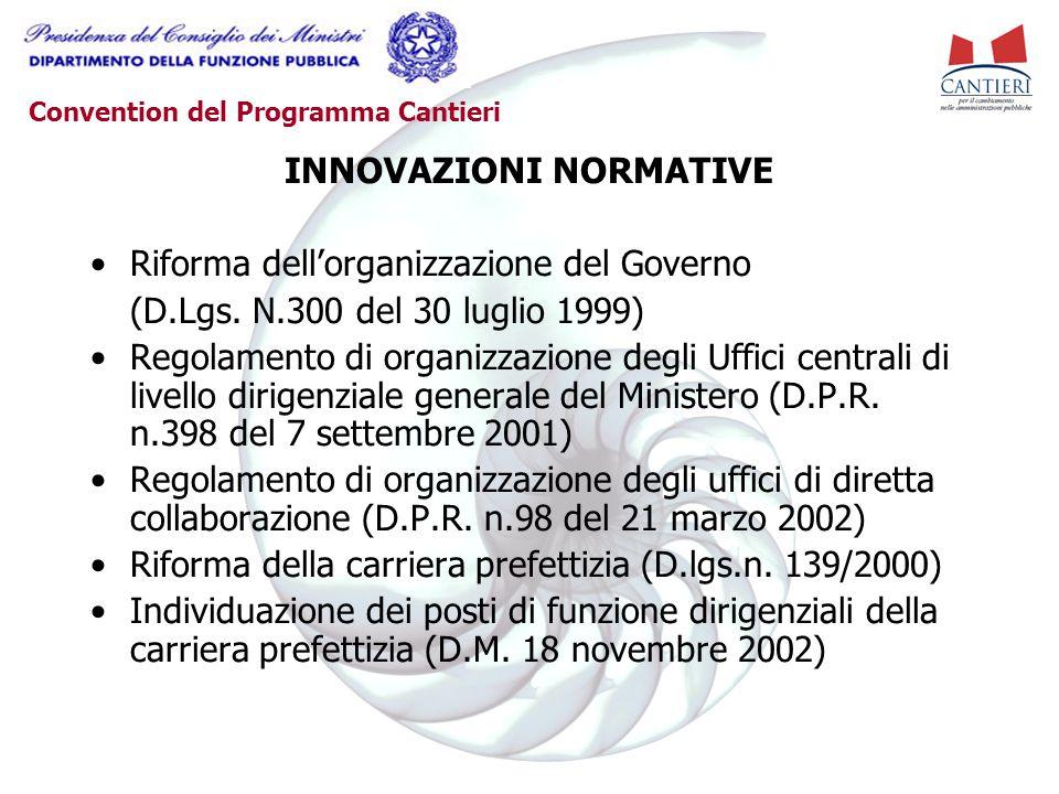 Convention del Programma Cantieri INNOVAZIONI NORMATIVE Riforma dell'organizzazione del Governo (D.Lgs. N.300 del 30 luglio 1999) Regolamento di organ