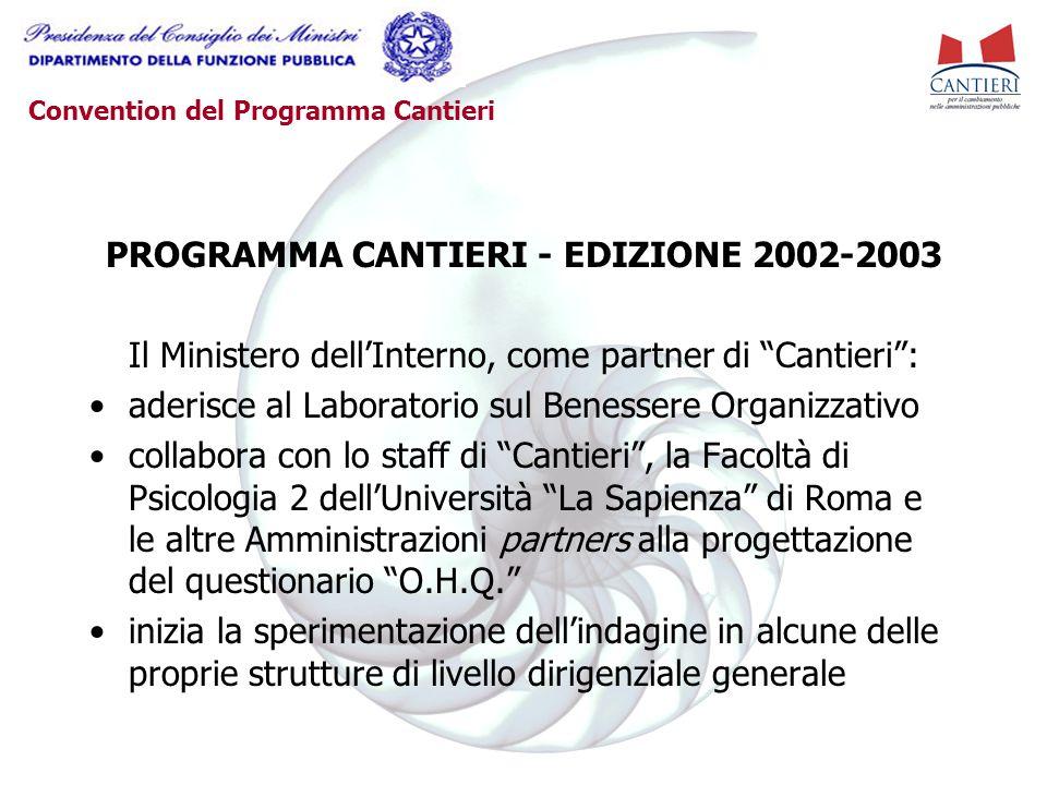 """Convention del Programma Cantieri PROGRAMMA CANTIERI - EDIZIONE 2002-2003 Il Ministero dell'Interno, come partner di """"Cantieri"""": aderisce al Laborator"""