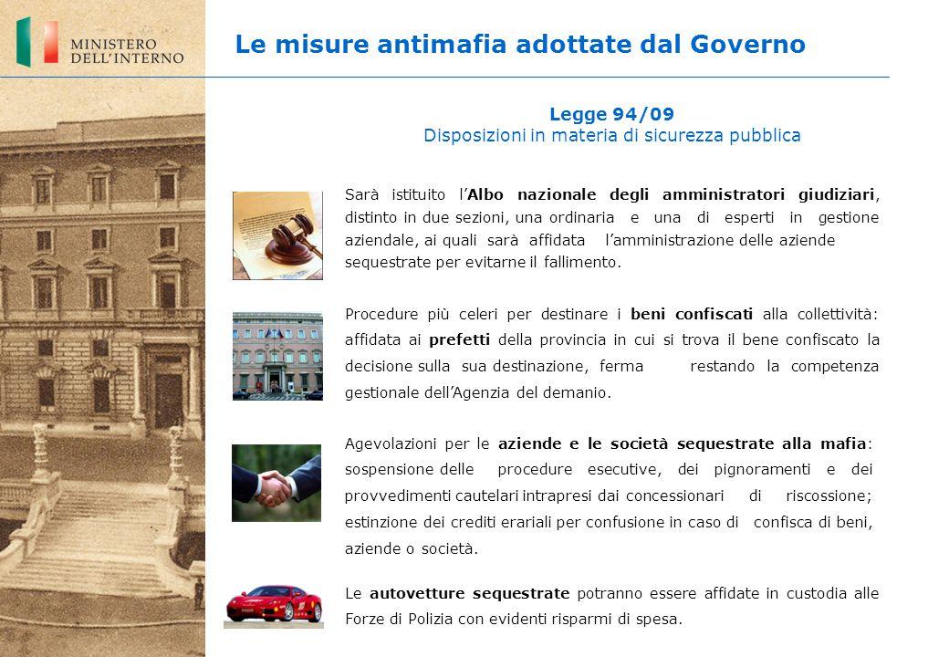 Legge 94/09 Disposizioni in materia di sicurezza pubblica Sarà istituito l'Albo nazionale degli amministratori giudiziari, distinto in due sezioni, un