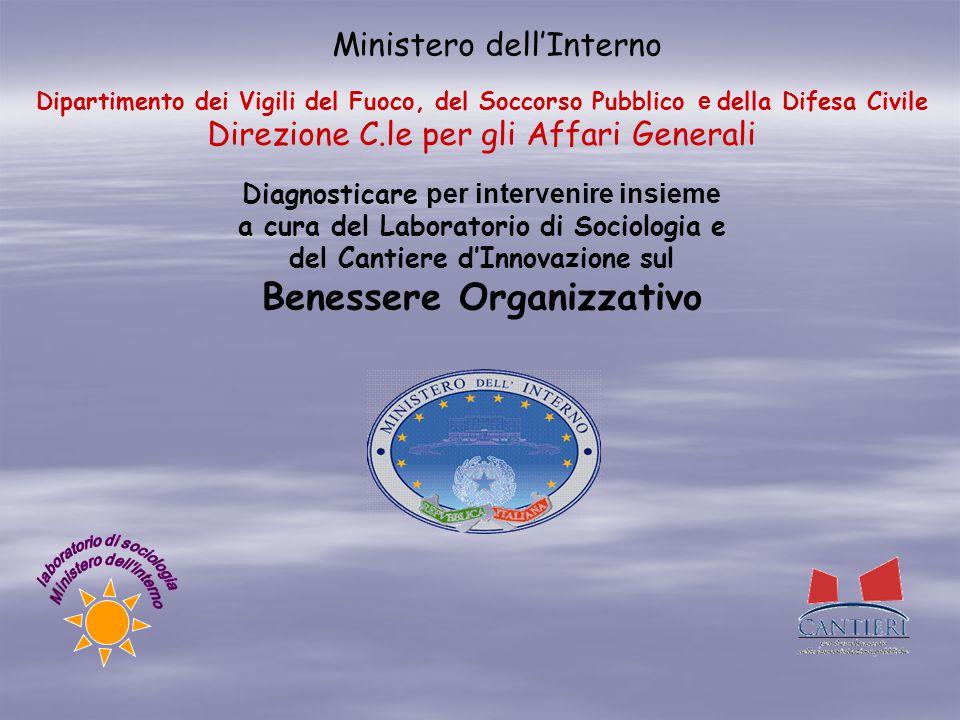 Ministero dell'Interno Diagnosticare per intervenire insieme a cura del Laboratorio di Sociologia e del Cantiere d'Innovazione sul Benessere Organizza