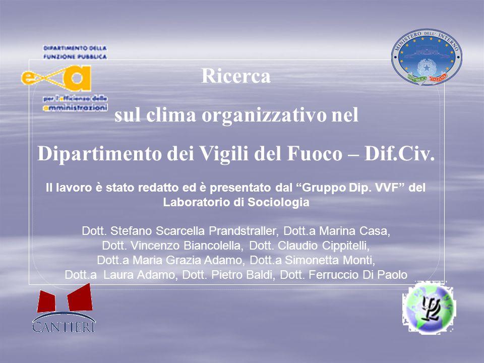 """Ricerca sul clima organizzativo nel Dipartimento dei Vigili del Fuoco – Dif.Civ. Il lavoro è stato redatto ed è presentato dal """"Gruppo Dip. VVF"""" del L"""