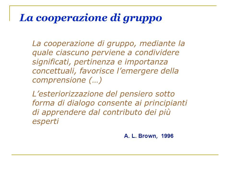 La cooperazione di gruppo La cooperazione di gruppo, mediante la quale ciascuno perviene a condividere significati, pertinenza e importanza concettual