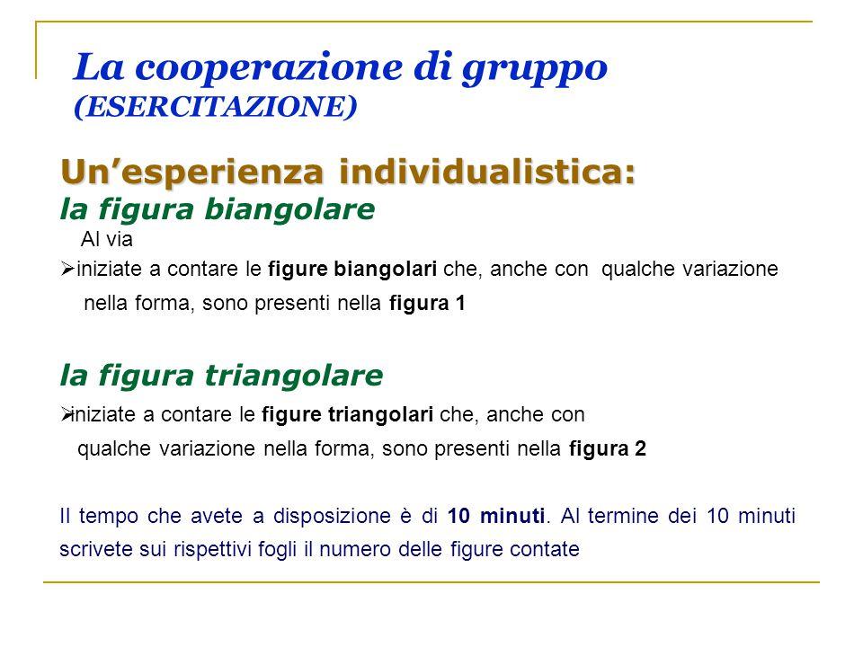 La cooperazione di gruppo (ESERCITAZIONE) Un'esperienza individualistica: la figura biangolare Al via   iniziate a contare le figure biangolari che,