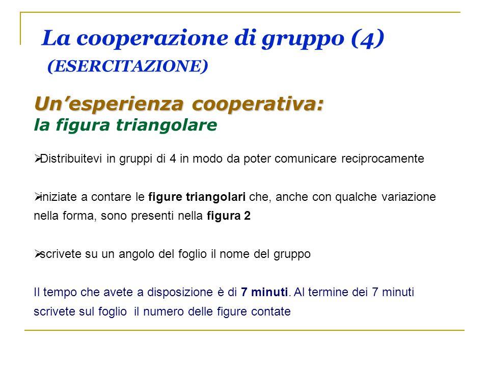 La cooperazione di gruppo (4) (ESERCITAZIONE) Un'esperienza cooperativa: la figura triangolare   Distribuitevi in gruppi di 4 in modo da poter comun