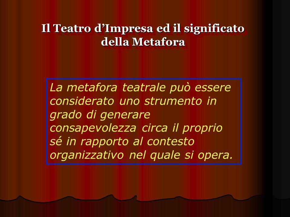 Il teatro d'impresa è una metodologia che consente ai partecipanti di riflettere sui propri comportamenti in forma ironica e leggera, aggirando le difese e favorendo così un processo attivo di interpretazione e ristrutturazione della realtà Il Teatro d'Impresa ed il significato della Metafora